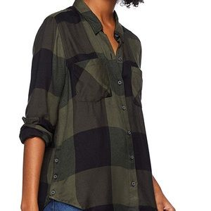 LUCKY BRAND Plaid Flannel Button Up Shirt Green